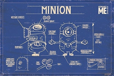 Pyramid International Maxi Poster Despicable Me Minion Blue Print Renkli